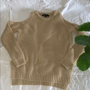Open shoulder tan sweater